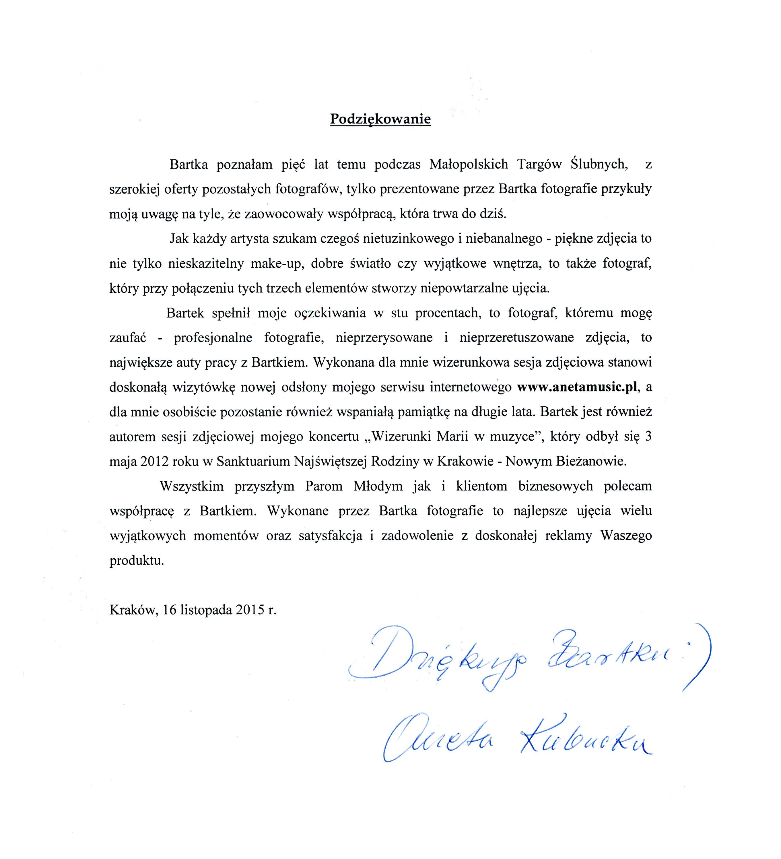Referencje Aneta Kubacka Sopran Sesja biznesowa Kraków